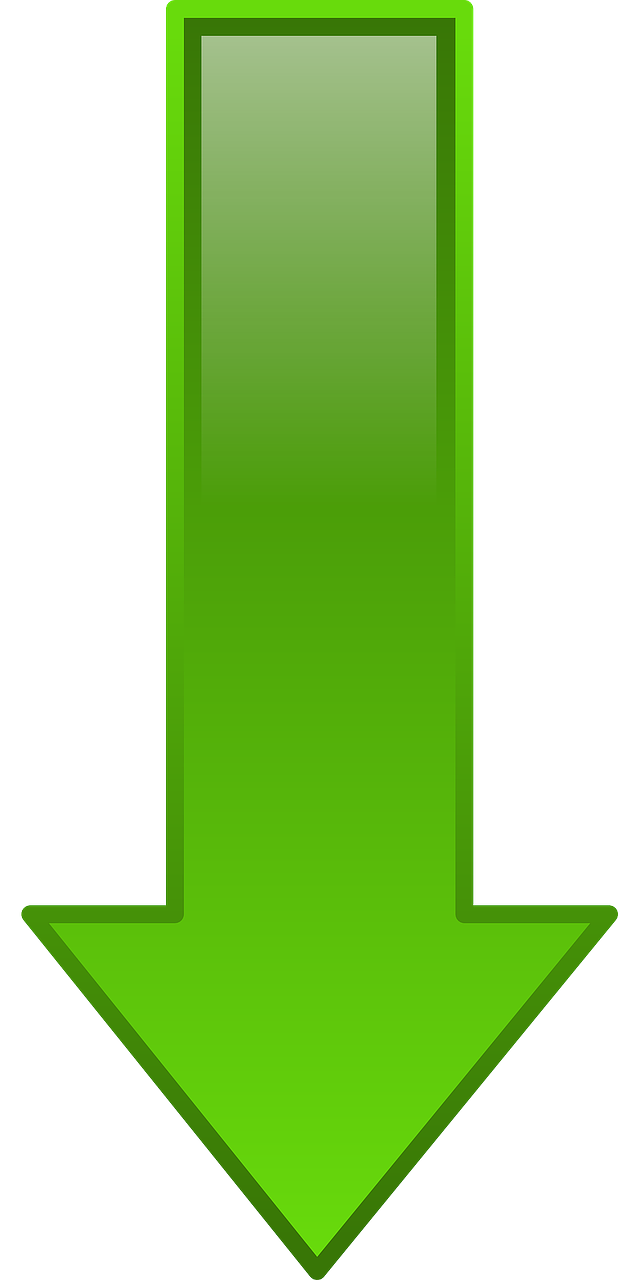 down, arrow, green